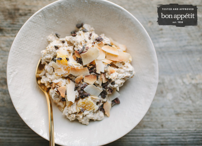 picture of orange date muesli with coconut and cacao nibs